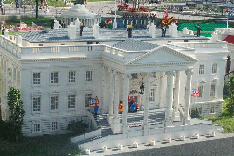 Christmas Events in Florida the Legoland Christmas Bricktacular White House with Santa and Reindeer on roof