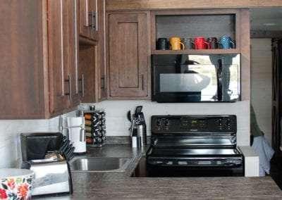 Kitchen at CreekFire RV Cabin