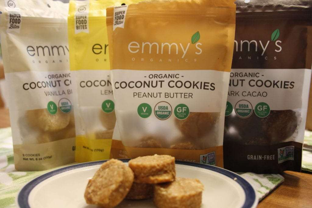 Road Trip Snacks Emmy's Organic Coconut Cookies variety of bags