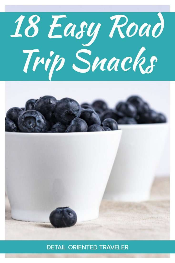 Easy Road Trip Snacks Pin with white bowl of blueberries and text overlay