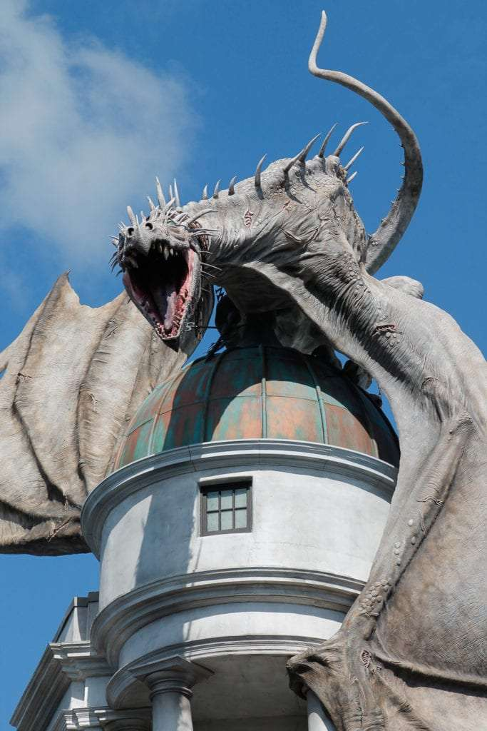 Everything about the Wizarding World of Harry Potter Dragon on top of Escape to Gringotts