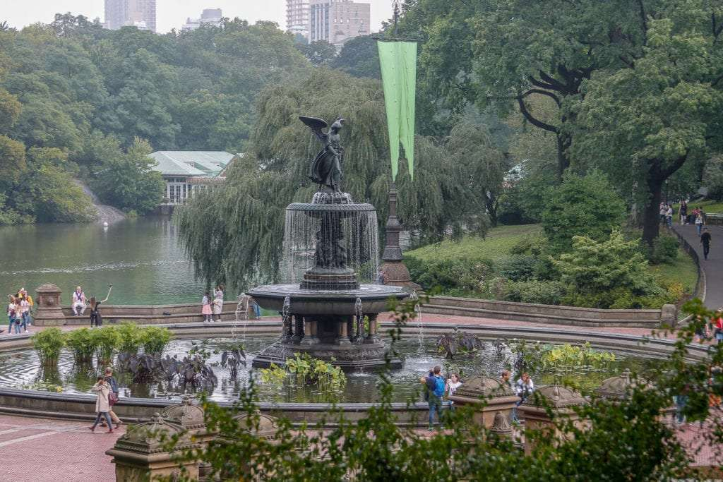 Central Park Bethesda Fountain on cloudy day
