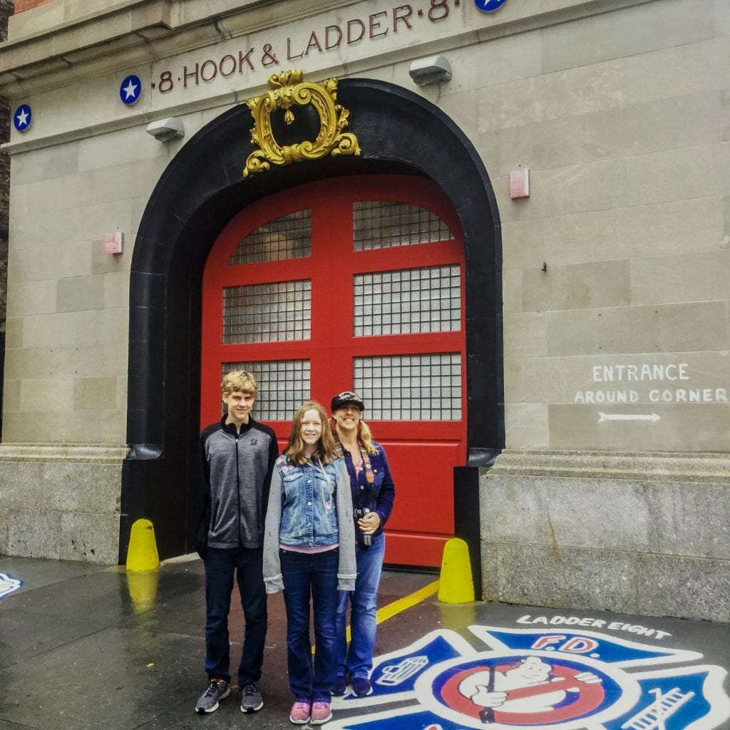 Movie and TV Locations in NYC Family standing at Ghostbusters Firehouse