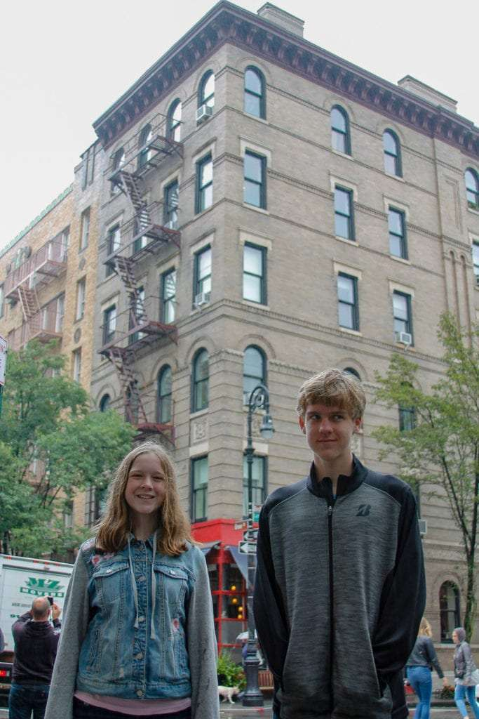 Movie and TV Locations in NYC boy and girl in front of friends' apartment building