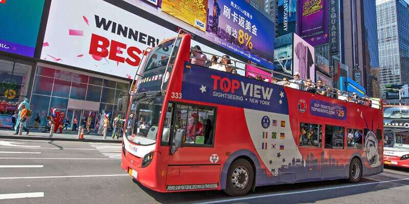 Top View Bus in Times Square Red double decker bus tour of New York City