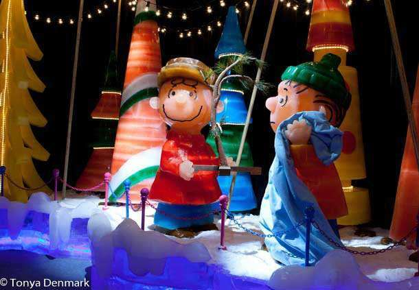 Fun Ways to have Christmas Celebrations in Florida with Charlie Brown Christmas figures at Ice at Gaylord Palms