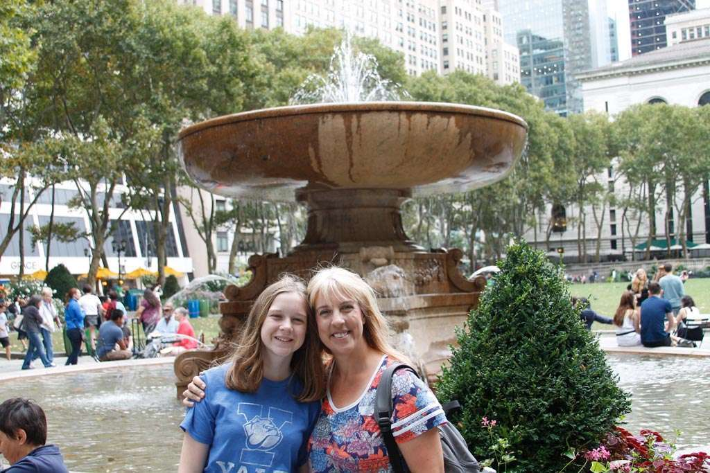 Mother and Daughter at Bryant Park one of the best places to travel with kids
