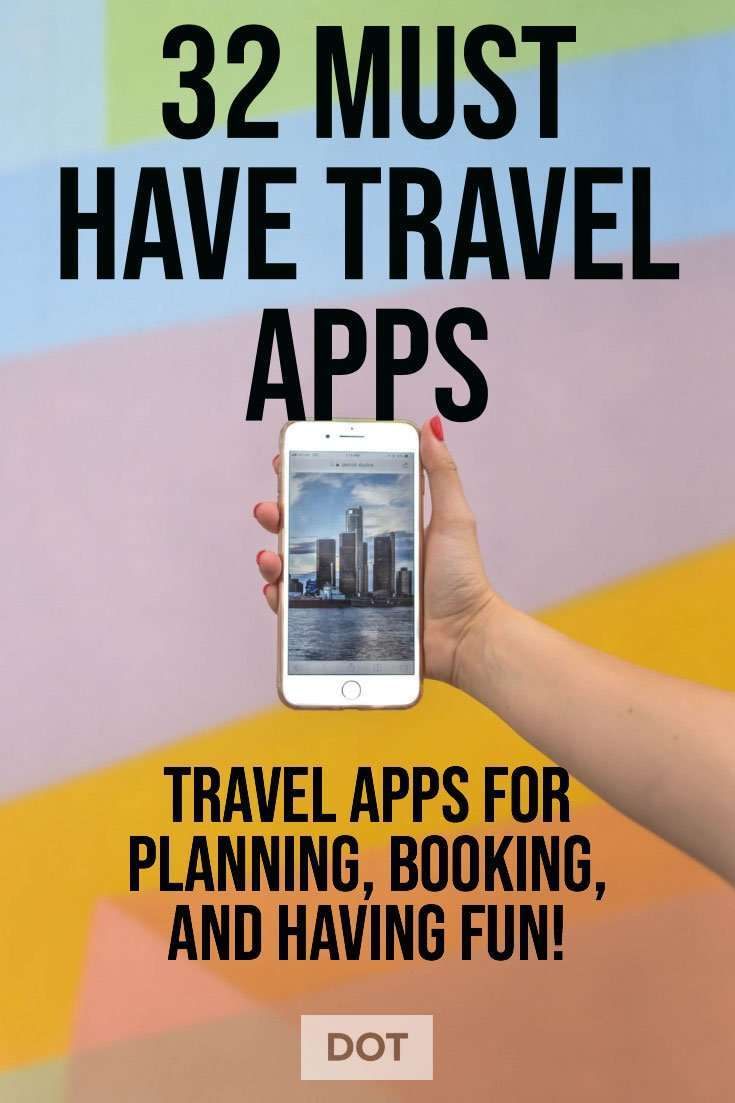 travel planning apps, apps for planning travel. woman holding phone next to colorful wall.