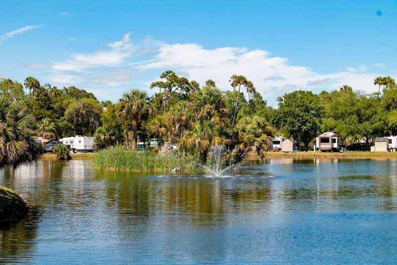 pond at crystal isles rv resort campground in crystal river florida