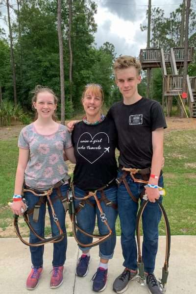 mom daughter and son after a climb at Orlando Tree Trek