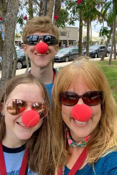 3 people with red noses in st. armands circle things to do in sarasota