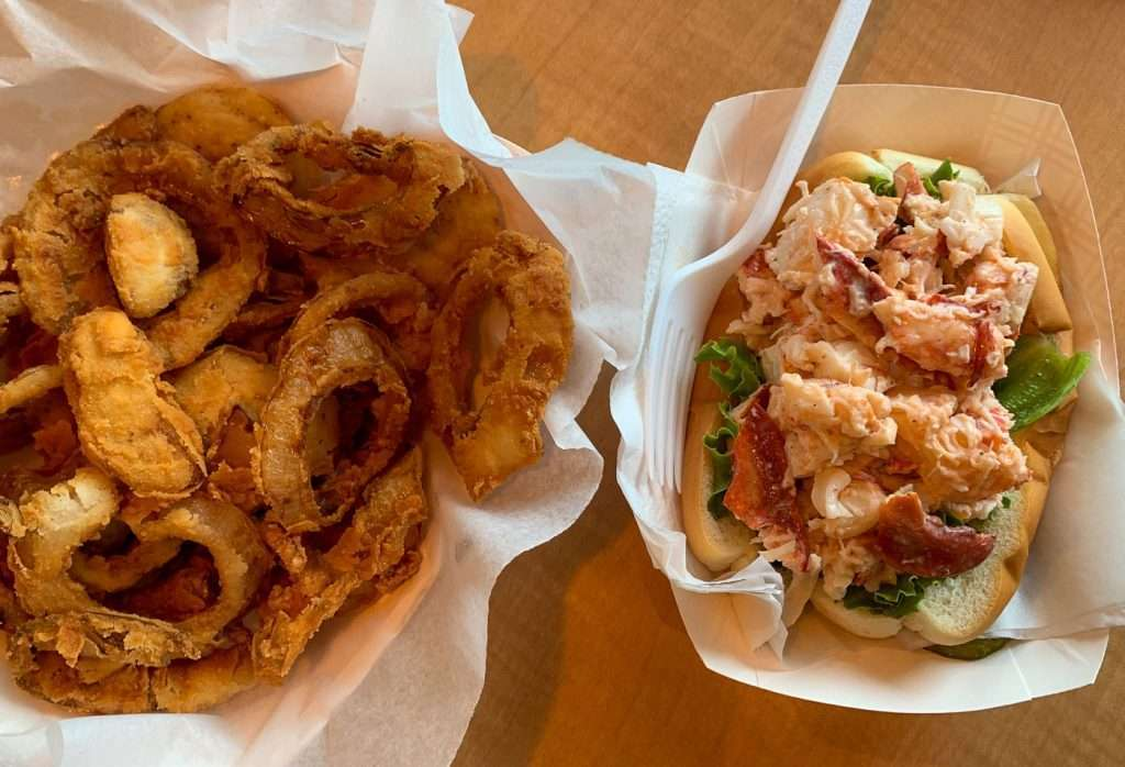 Harraseeket Lunch and Lobster onion rings and lobster roll