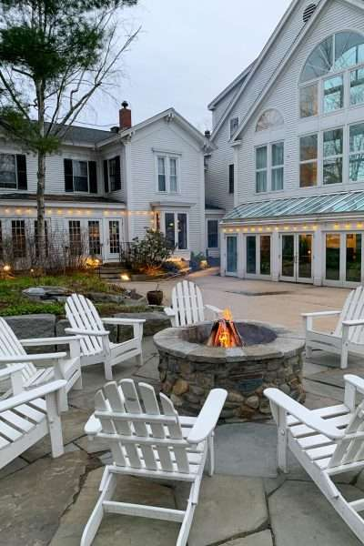 24 hours in Freeport maine with outdoor fireplace at harraseeket inn
