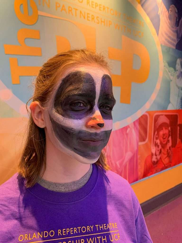 Zero stage makeup for Nightmare before Christmas at Orlando Rep camp for Stage Makeup.