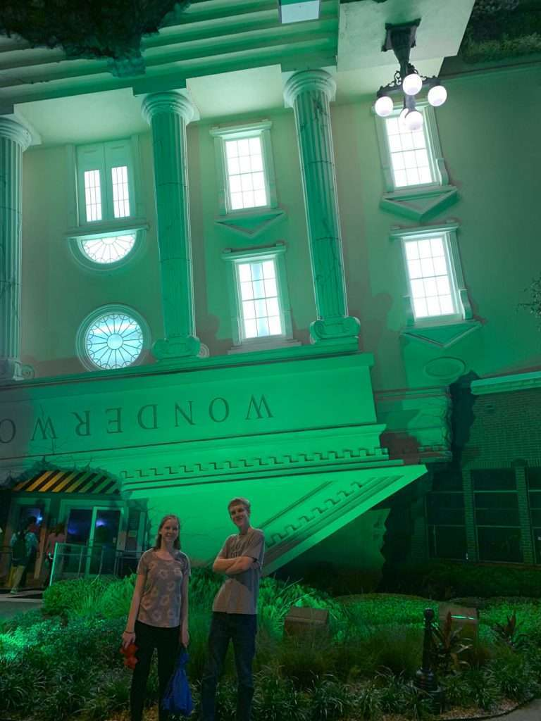 Wonderworks Orlando the Upside Down House at night