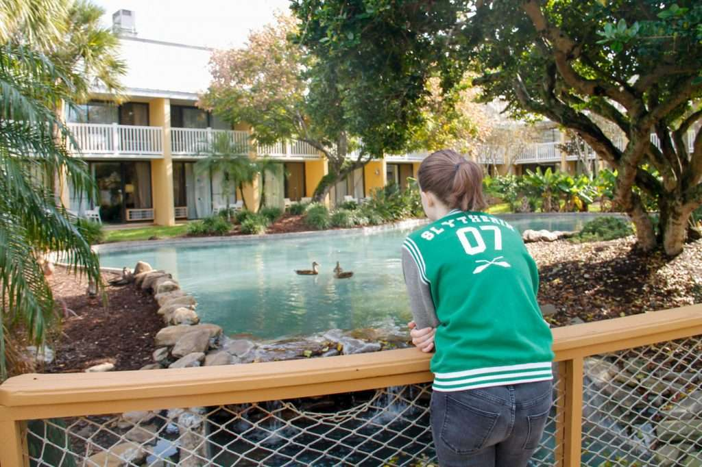 Girl looking over duck pond at the Wyndham Orlando Resort