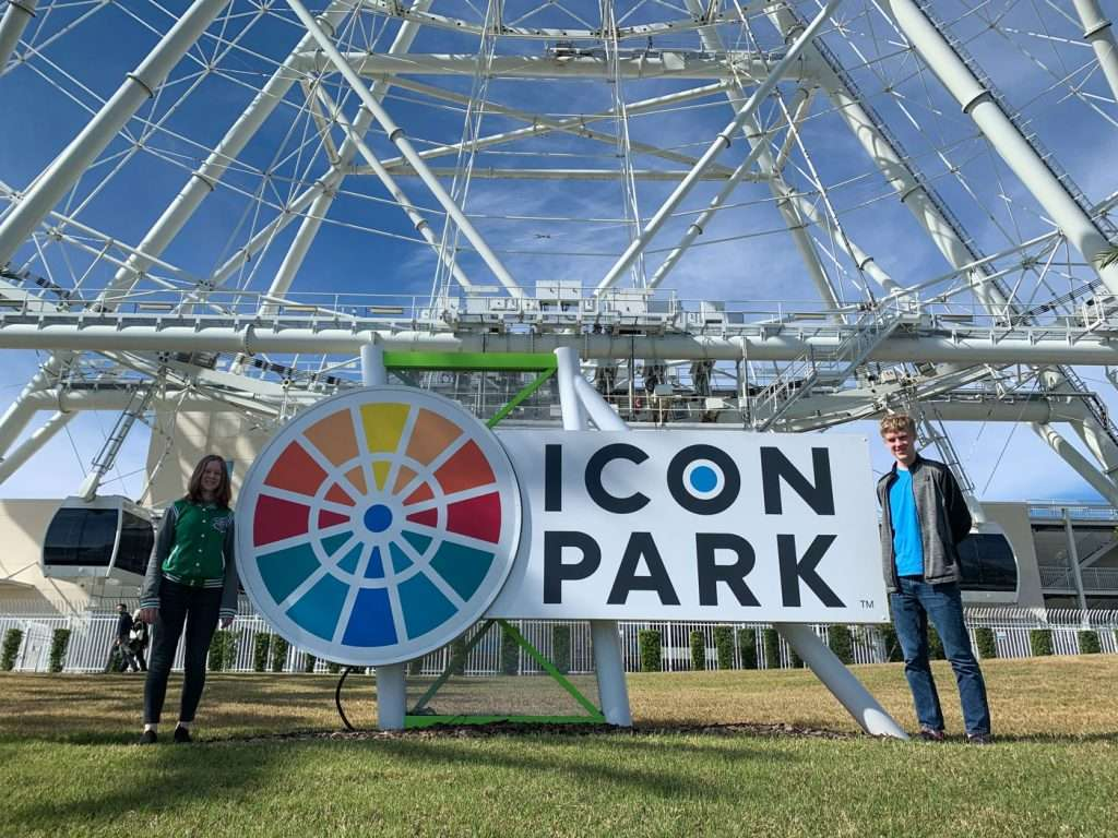 Icon Park Sign with girl and boy.
