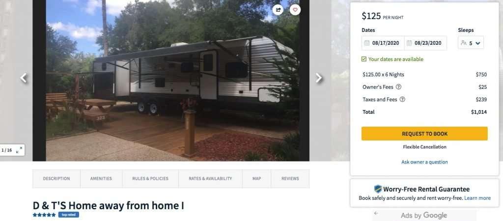 Camper details page