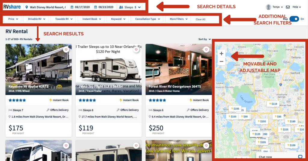 breakdown of searching and renting an rv on RVshare.