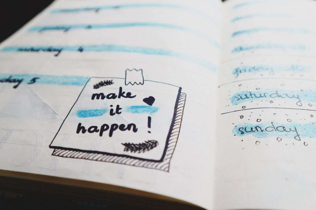 Make it happen notebook for travel planning