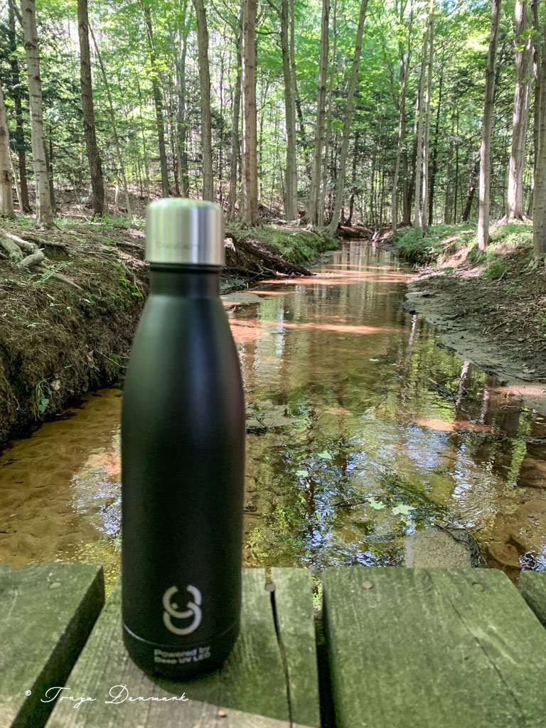 CrazyCap Travel Water Bottle on wooden bridge with stream and tall pine trees