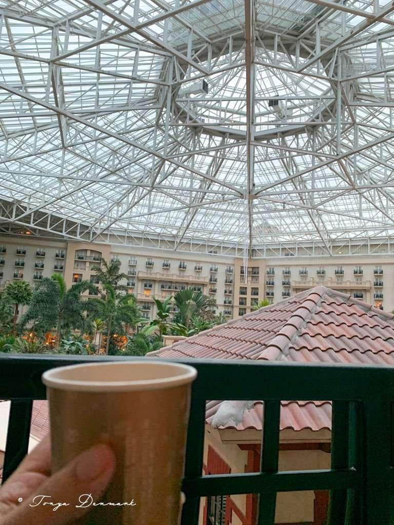 coffee on balcony in atrium
