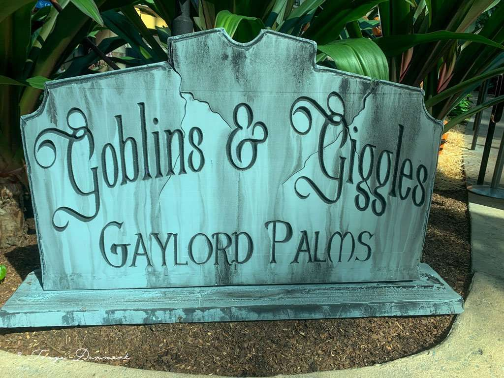 gravestone sign of goblins and giggles at gaylord palms halloween in orlando