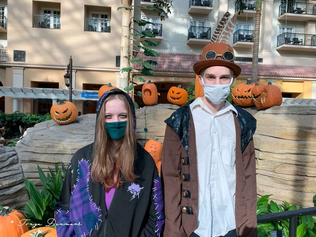 teen girl and teen boy dressed up for halloween in orlando