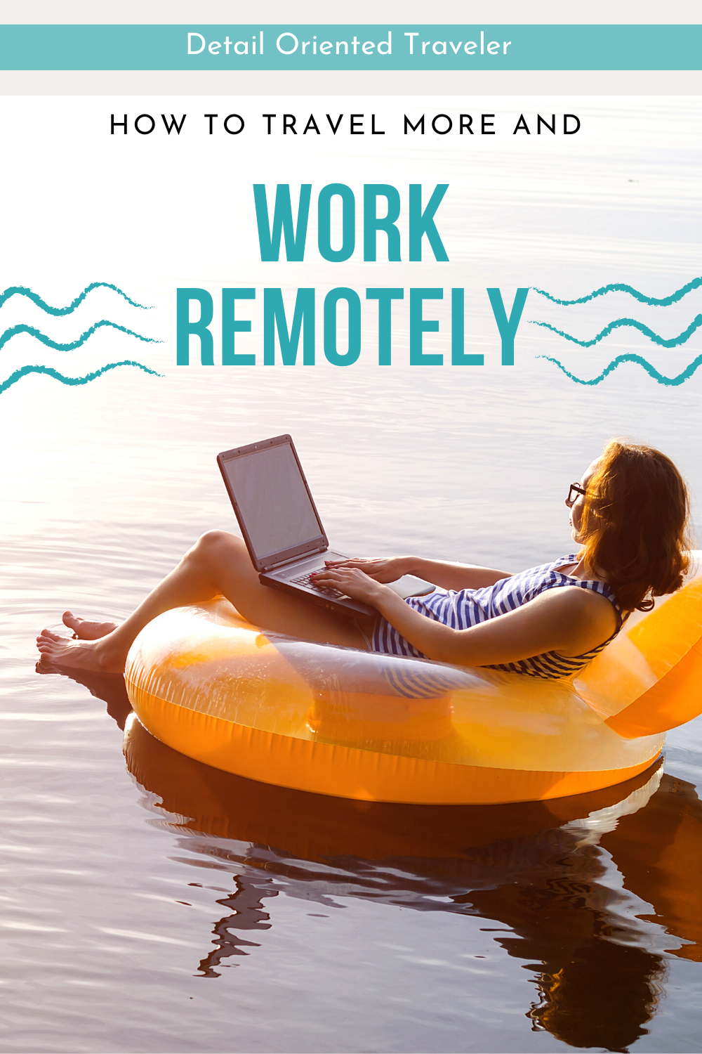 woman on raft with computer