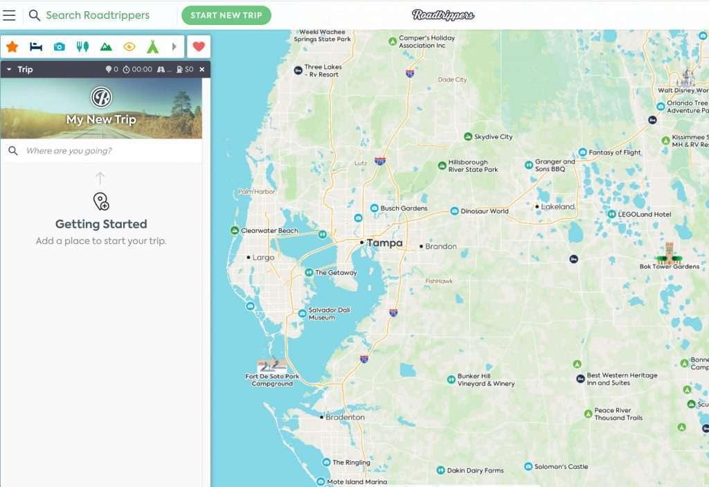Screenshot of Roadtrippers map on desktop
