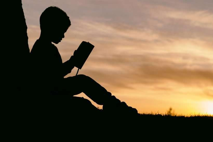 silhouette of child sitting behind tree during sunset doing homeschool and travel