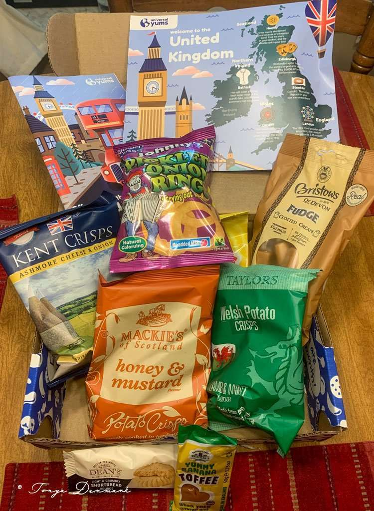 box of snacks from the UK, from a universal yums review
