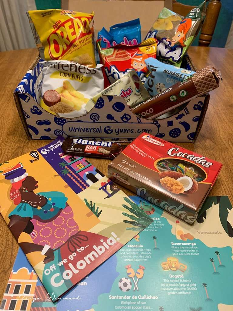 subscription snack box from universal yums review box full of snacks