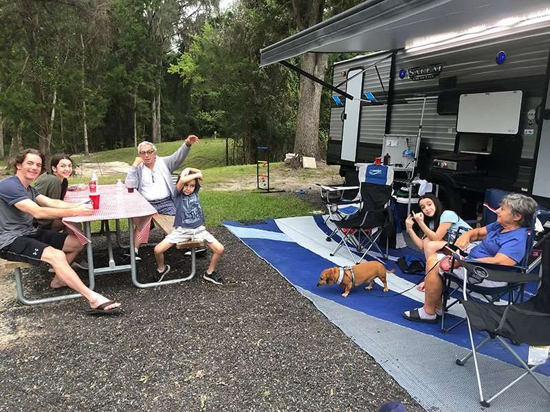 group of people camping. list of gift ideas for camping families.