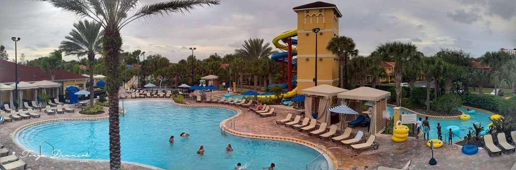 Pool area at Fantasy World Resort vacation villas near Disney