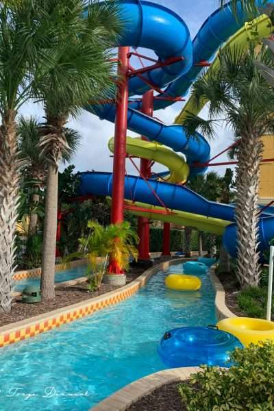 twisty slide and lazy river at vacation villas near Disney FantasyWorld Resort