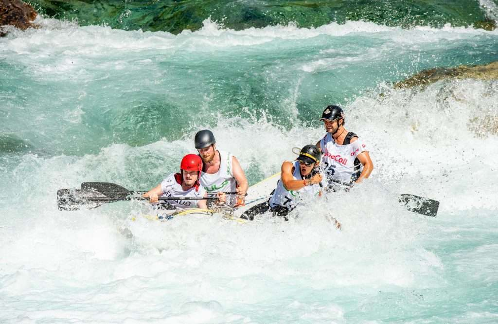 Rafting competition on a sunny day in Voss.