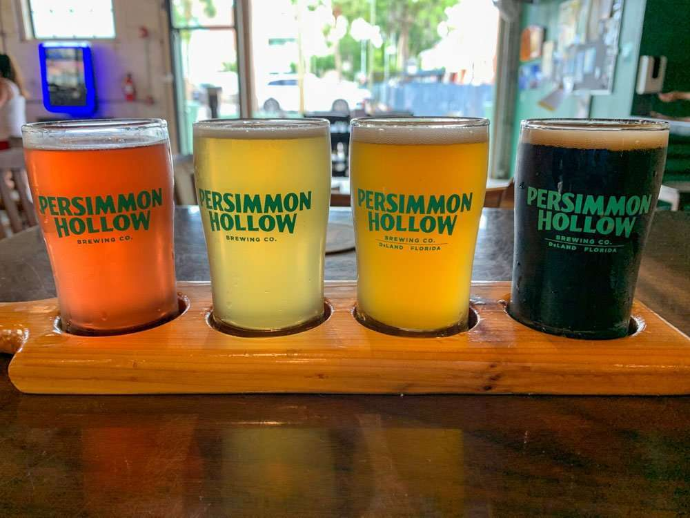 flight of beers at Persimmon Hollow
