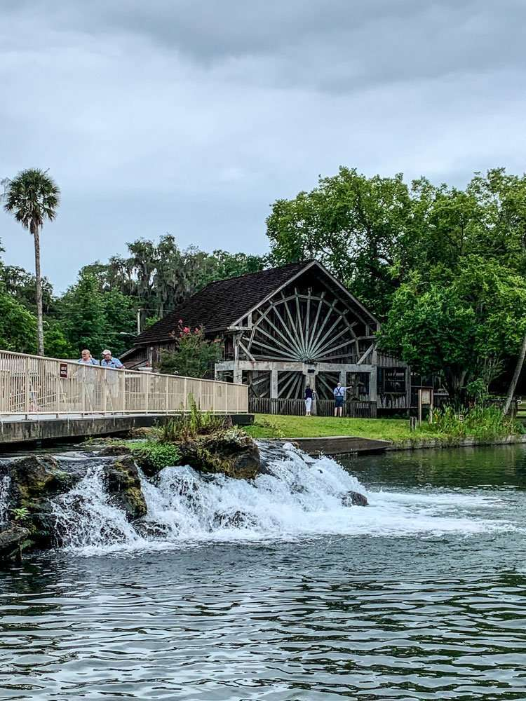 The Old Sugar Mill at De Leon Springs. Picture of Sugar mill and small run off waterfall into the river.