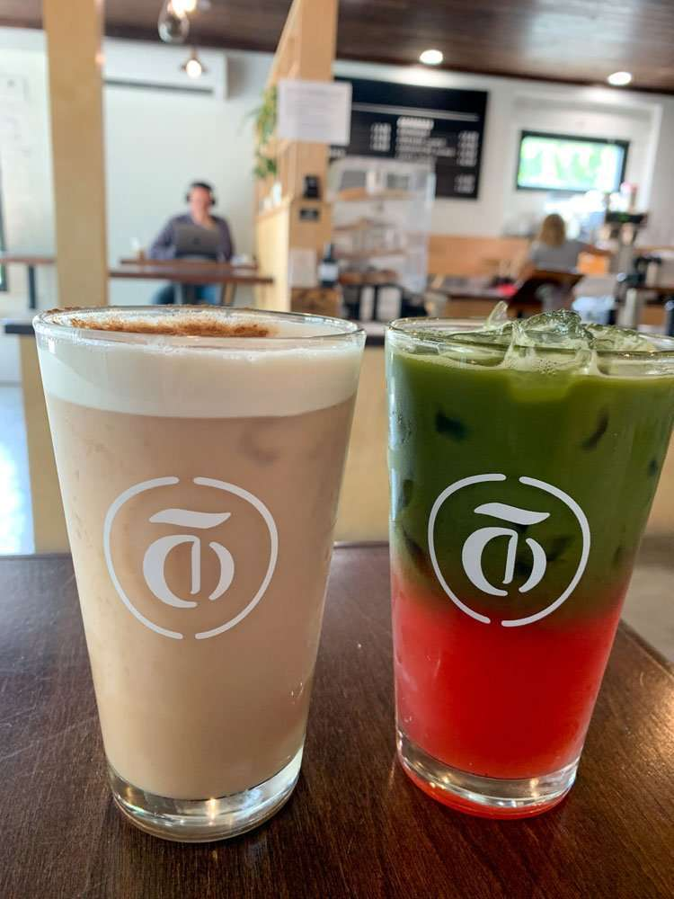 Drinks at Trilogy Coffee Roasters in DeLand, Florida