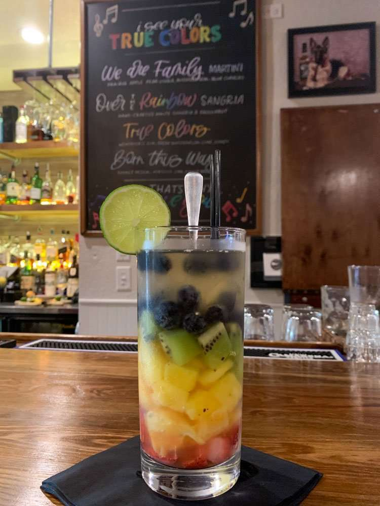 Rainbow drink at The Artisan Lounge in DeLand, Florida