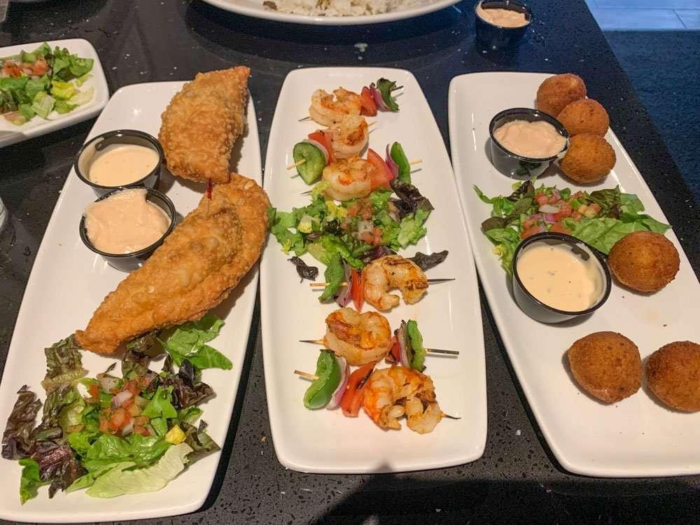 cuban food on 3 plates
