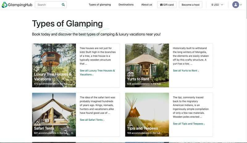 Types of glamping list.